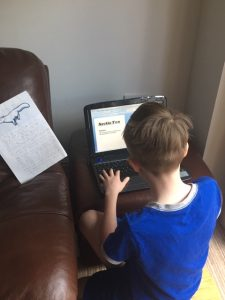Bromley working really hard on his Arctic Fox report - brilliant work Bromley!